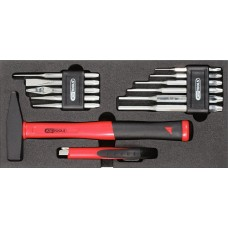 Набор в ложементе выколотки 2 - 8мм, зубила, молоток 500 г,нож.  KS Tools 815.1303