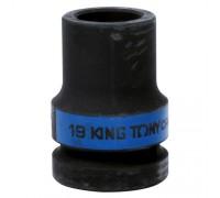 "KING TONY Головка торцевая глубокая ударная четырехгранная 1"", 19 мм, футорочная"